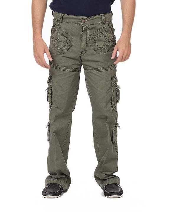 Green Cotton Cargo Trouser for Men
