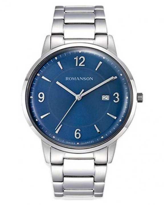 Romanson Silver & Blue - Stainless Steel Analog Wrist Watch for Men - TM6A24 MW BU