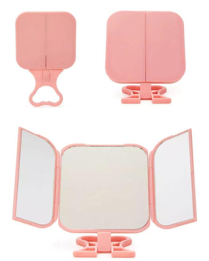 Tri Fold Vanity Make Up Mirror Pink