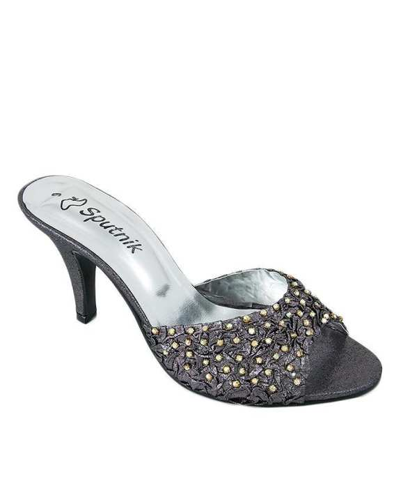 Grey Synthetic Leather Heeled Slides For Women - 2701/150