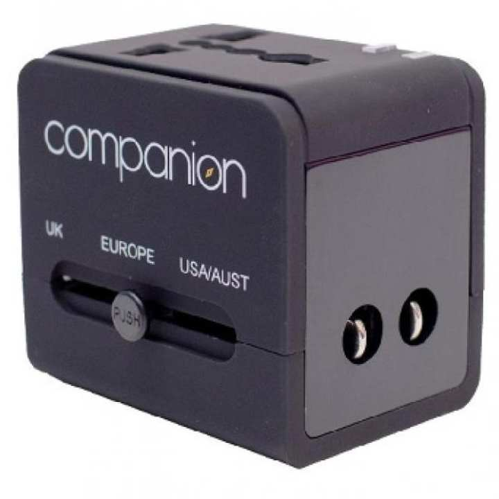COMPANION Universal Travel Adapter with Dual USB - Black