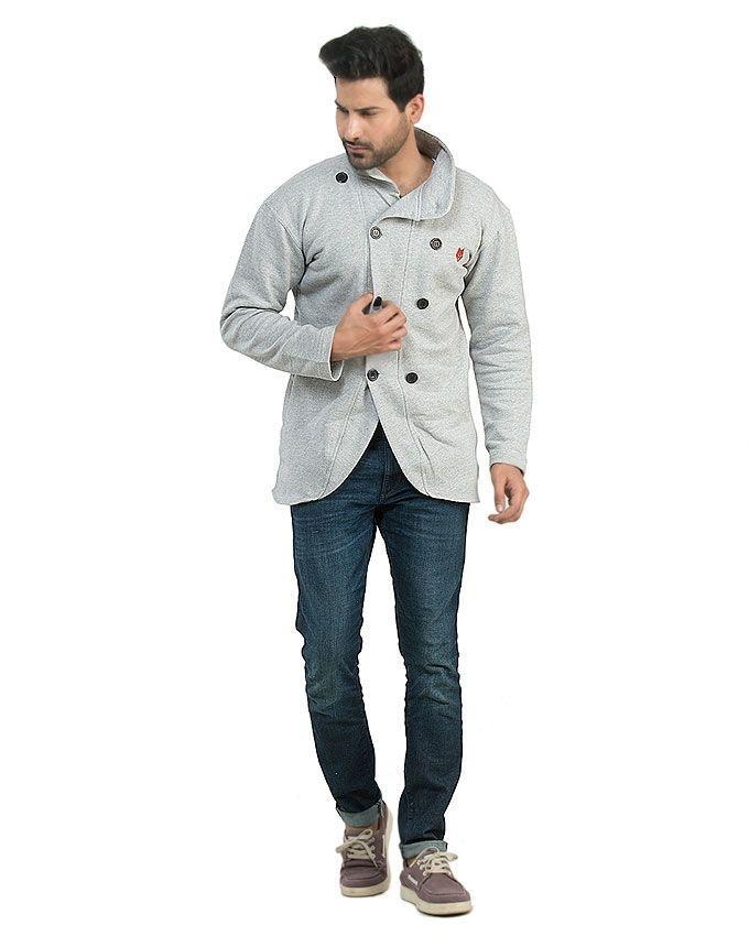 Heather Grey Fleece Short Coat For Men