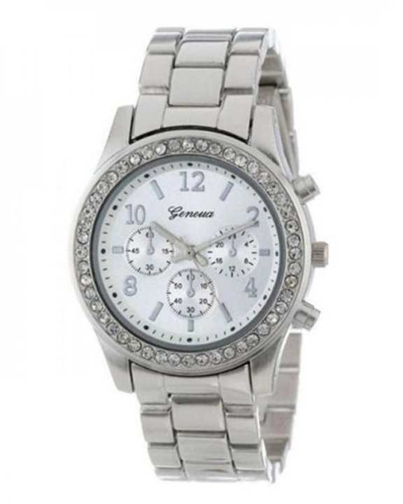 Silver Stainless Steel Chronograph Watch For Women