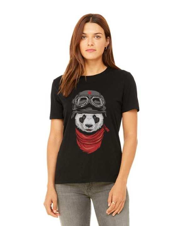 Black Cotton Panda Printed T-Shirt for Women - Ace-021
