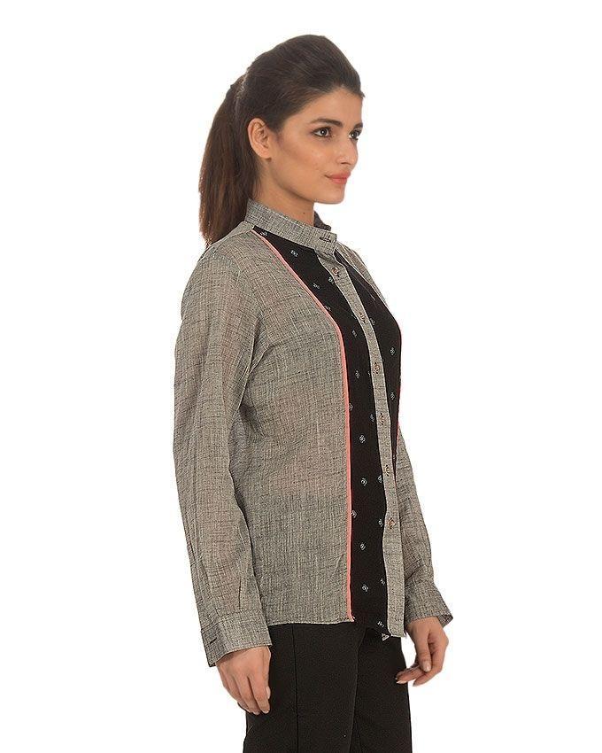 Black & Grey Cotton Printed Shirt for Women - M-2607
