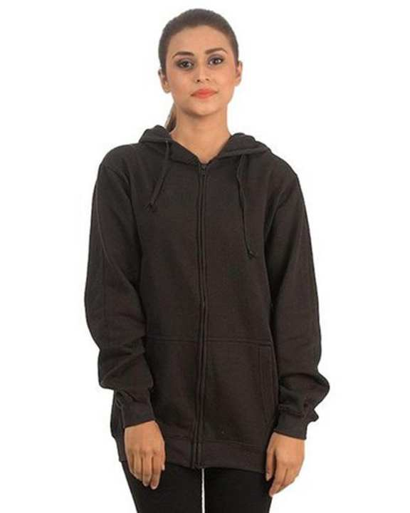 Black Zipper Hoodie For Women