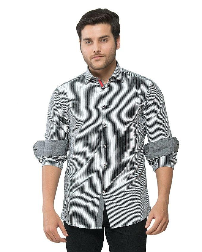ACLIPSE - Grey Bengal Cotton Striped Shirt for Men