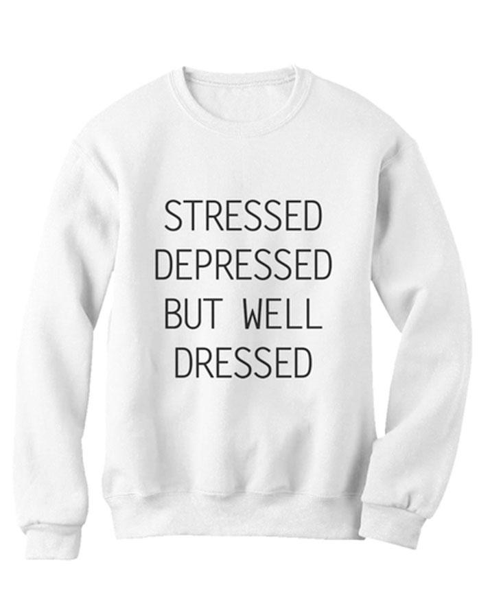 White Fleece Printed Sweatshirt for Women