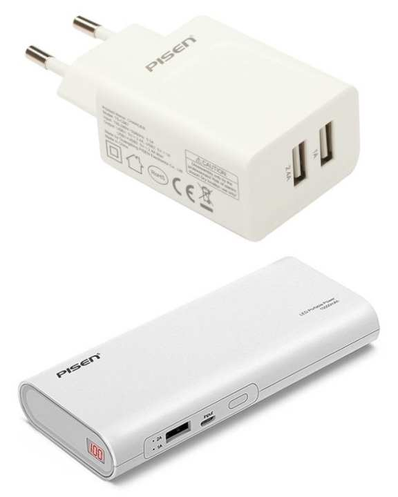 Pack of 2 - Power Bank 10000mah LED + 2.4A Dual Output Wall Charger - White