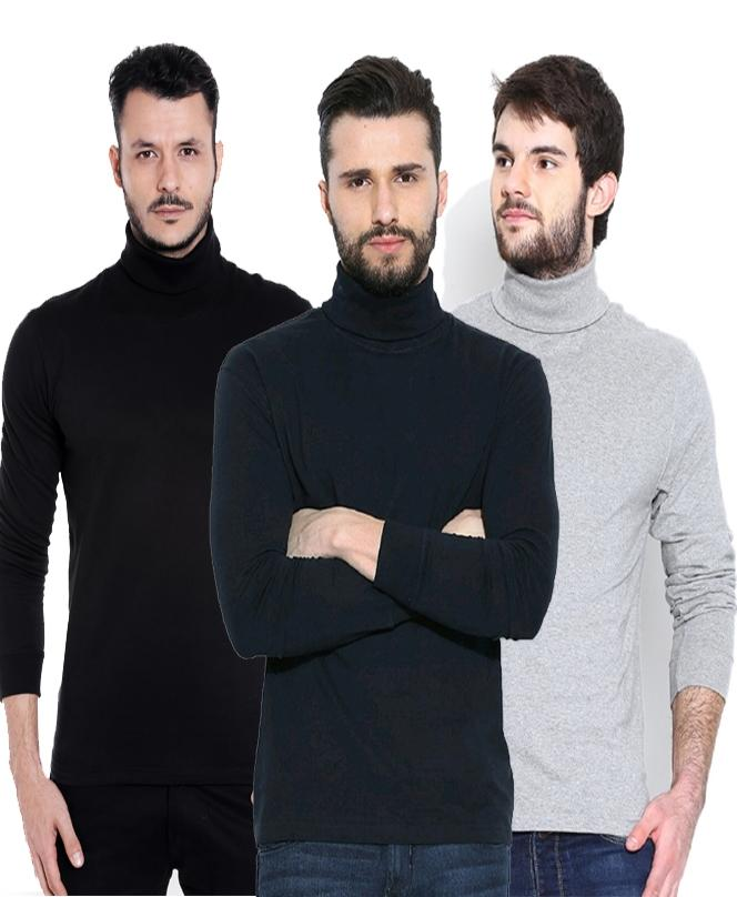 7c30a6cd2a7 Men Pack of 3 Solid High Neck T-shirts