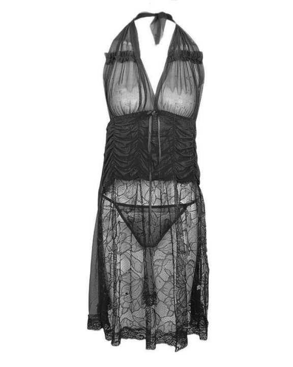 Black Net Lace Nightwear for Women - 8121