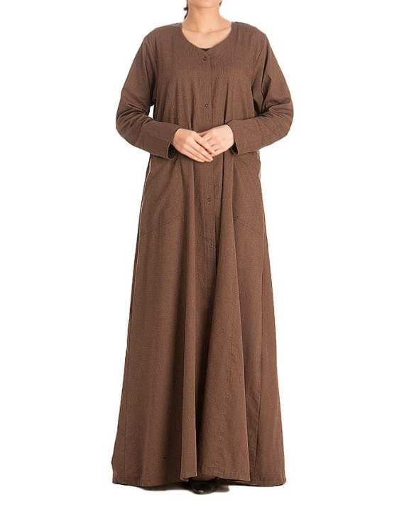 Brown Poly Cotton Abaya For Women - AIP- 012