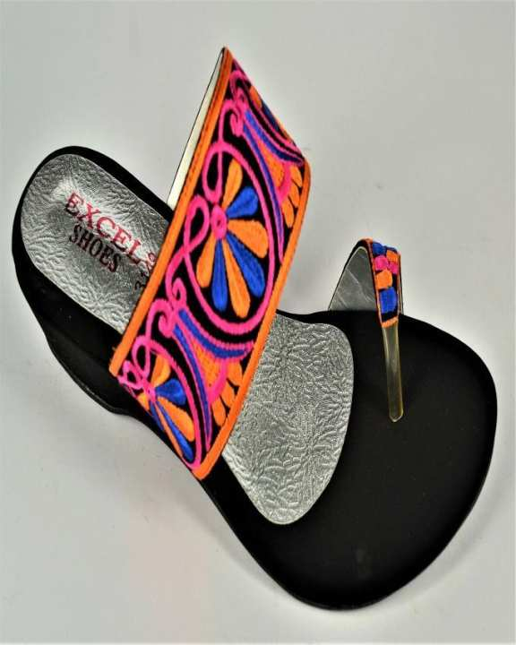 Black & Multicolor Suede Wedge for Women