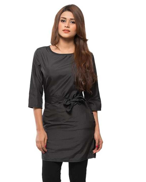 Black Polyester Two Side Pocket Casual Dress for Women - UBB057