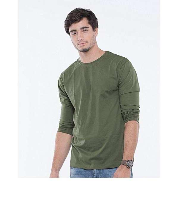 Green Plain Round Neck T-Shirt For Men