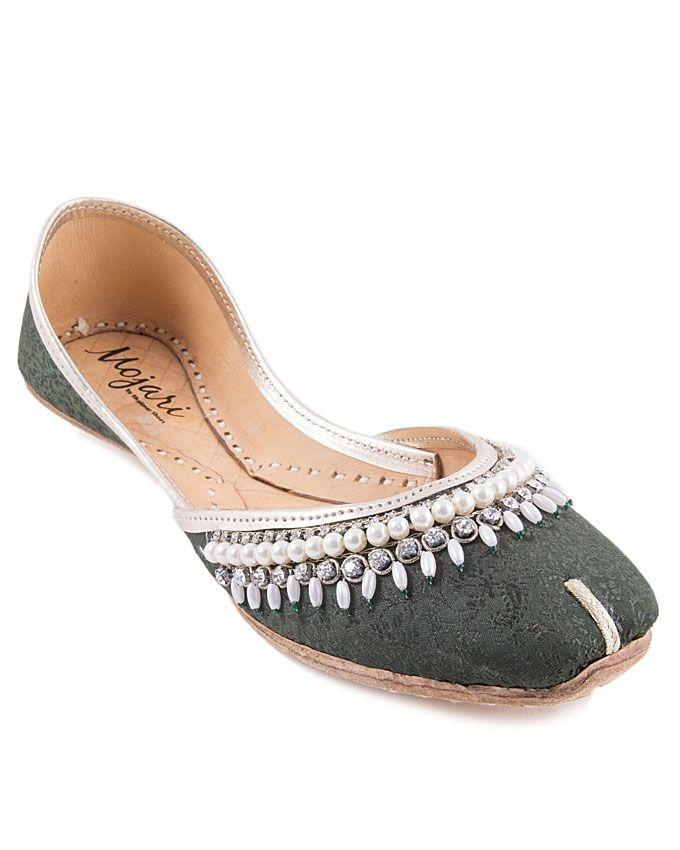 Dark Green Leather Pearls Khussa For Women