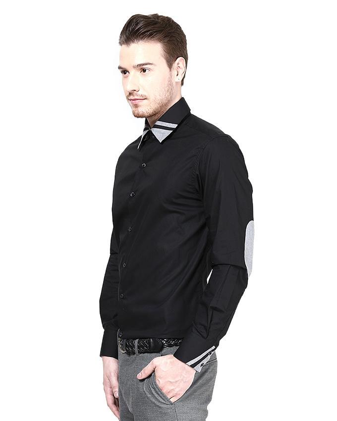 Black Mix Cotton Shirt For Men