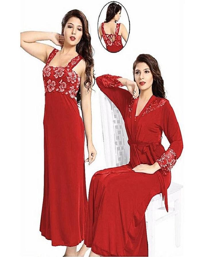 Red Mix Silk Nighty For Women d3beb2eeb