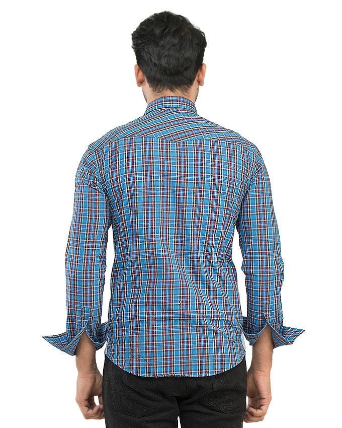 Multicolor Blue Checkered Cotton Casual Shirts For Men