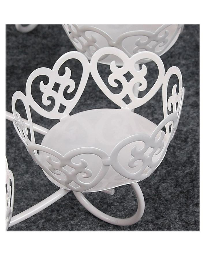 European Style Cupcake Stand in White Metal