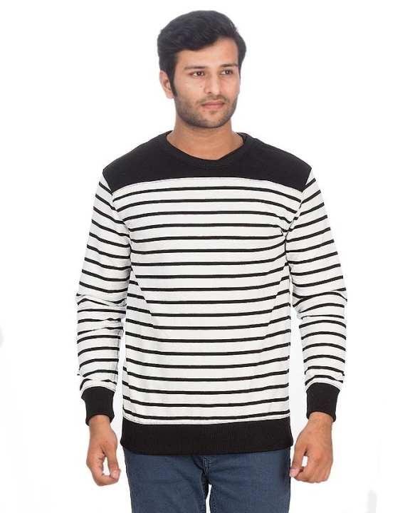White Striped Cotton Terry Block Sweatshirt for Men