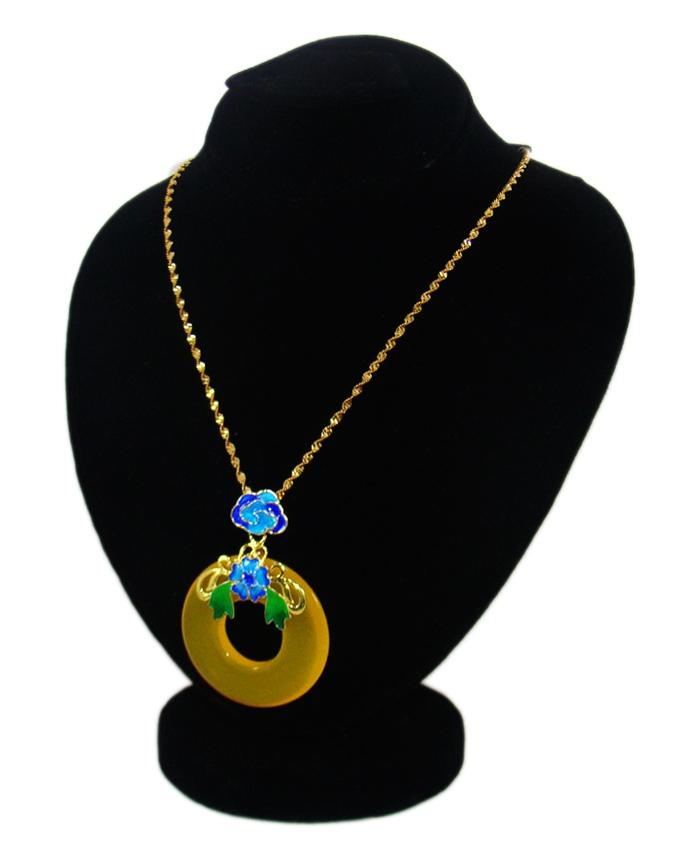 Round Yellow Pendant with Golden Chain for Women - Yellow