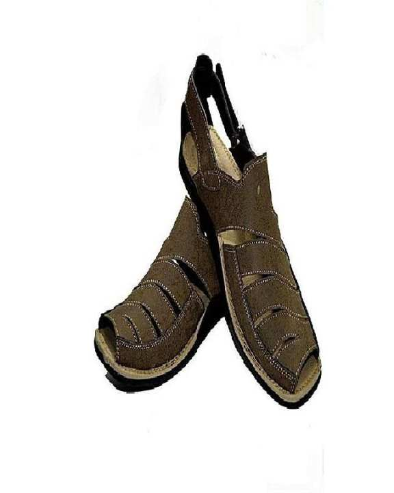 Brown Leather Suede Sandals For Men