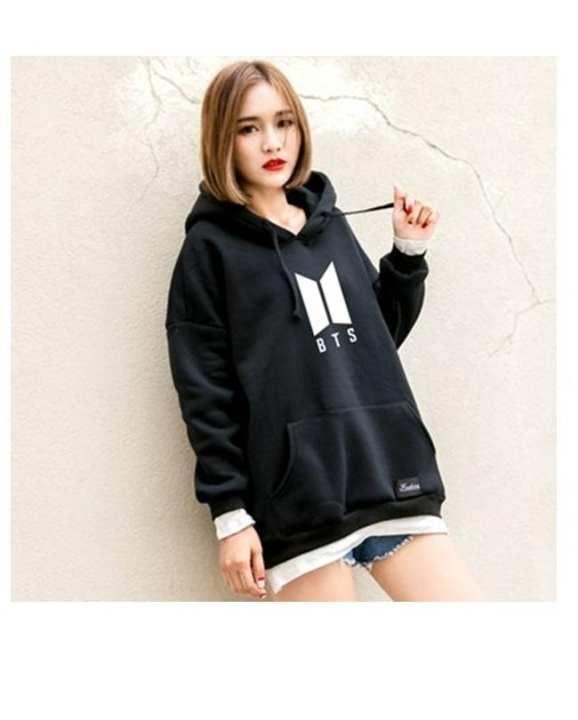 Bts Fleece Cotton Hoodie For-Women-Black