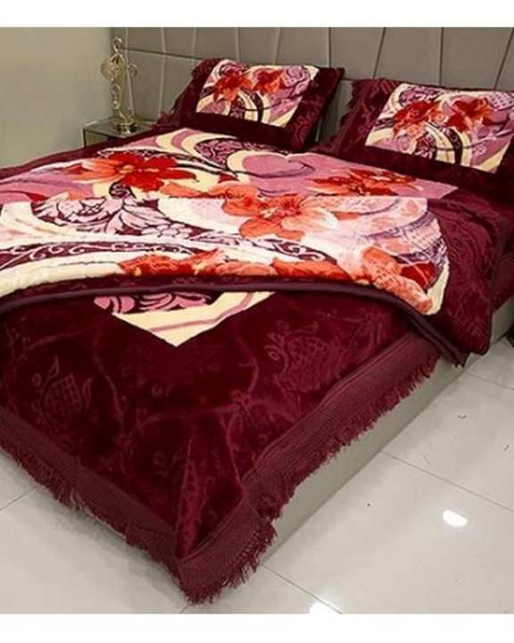 Decorum 4 Pcs Double Bed Embossed Bedcover Set With Blanket - Design # PL-201 / 2017