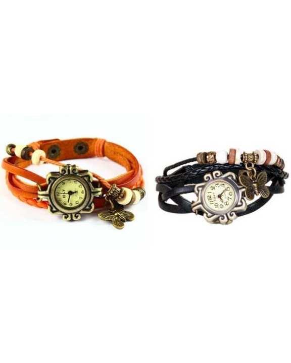Pack of 2 - Orange & Black Leather Bracelet Watch for Girls