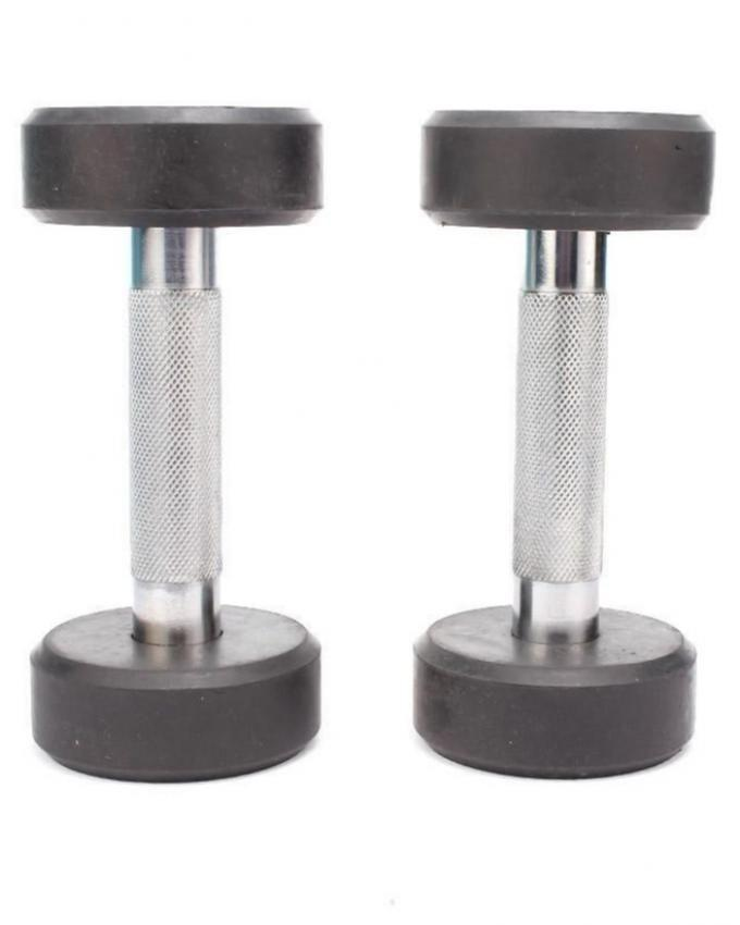 Pair of Rubber Dumbbell - 3 Kg - Black & Silver