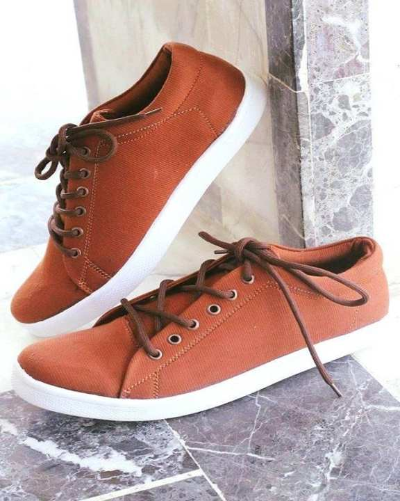 Brown Canvas Stylish Sneakers For Men