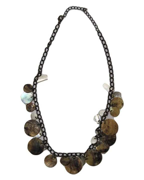 Brown Seashell and Metal Necklace For Women