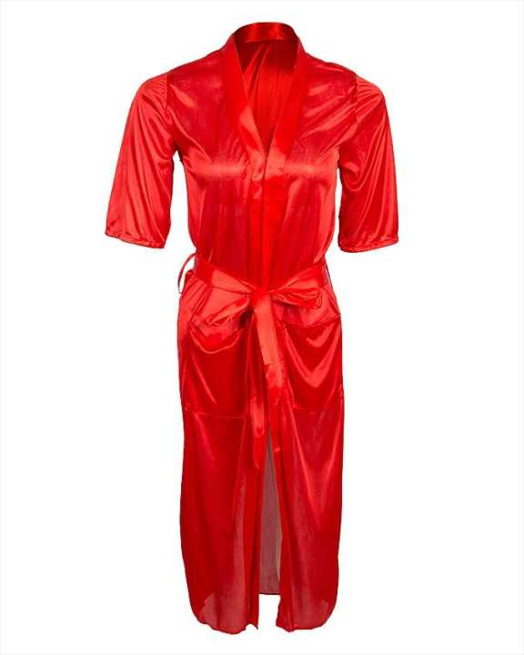 Red Satin Night Gown for Women - Ubb072