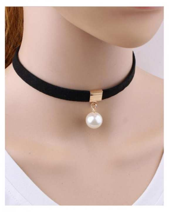 Black Romantic Choker Necklace Simulated Pearl