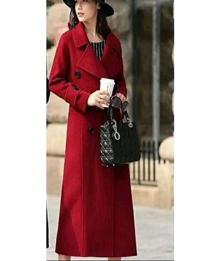 19d68205e0 2018 Fleece Coat Women's Long Coat Winter Fleece Blends Coat Runway Fashion  Red Black Thick Warm