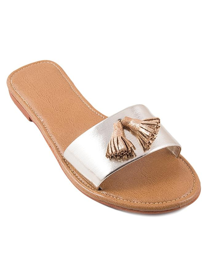 Golden Leather Tussel Casual Chappal for Women