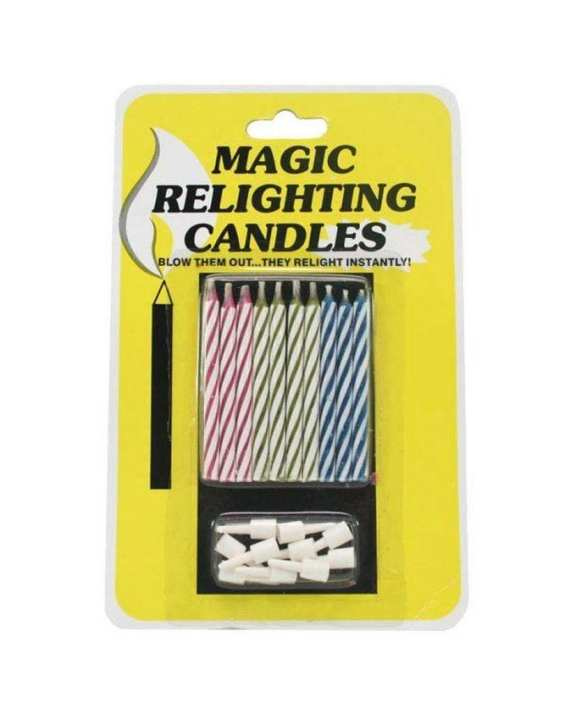 Pack of 10 - Magic Relighting Birthday Candles - Multicolor