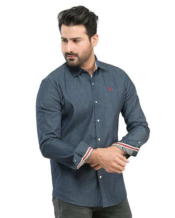 Dark Blue With Red & White Lace Denim Casual Shirts For Men