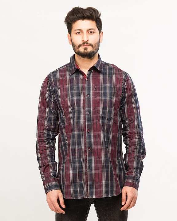 Black & maroon Casual/Party Wear Regular-fit Shirt by Shahzeb Saeed Menswear