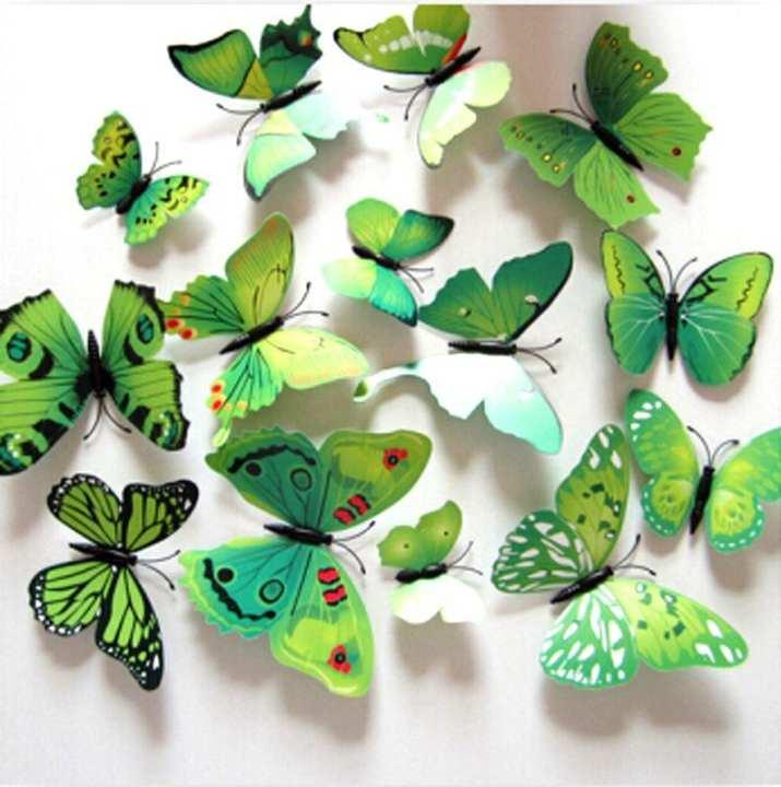 Butterflies Wall Stickers Decoration Magnet Butterflies on the wall DIY Wallpaper 12Pcs/lot 3D PVC