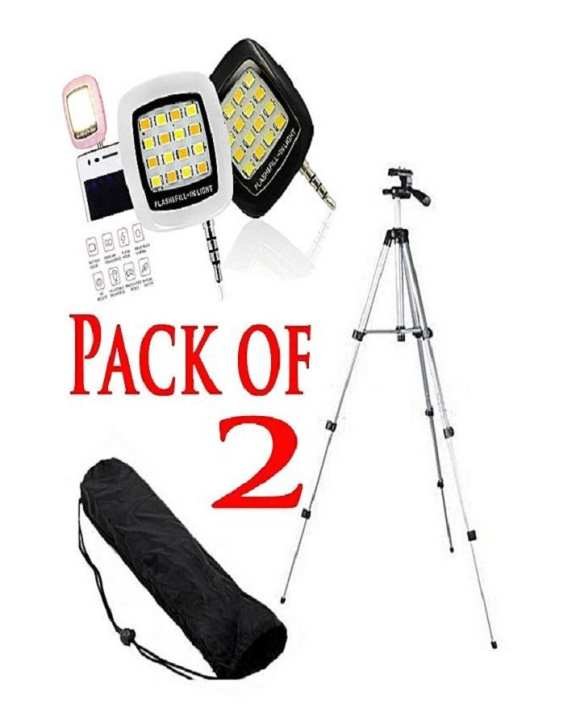 Pack Of 2 - 3110 Tripod Stand For Dslr Camera With Mobile Holder + Selfie Light.