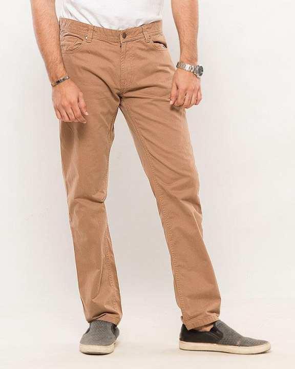 Camel-Cotton Men'S Cotton Pants-Slim Fit