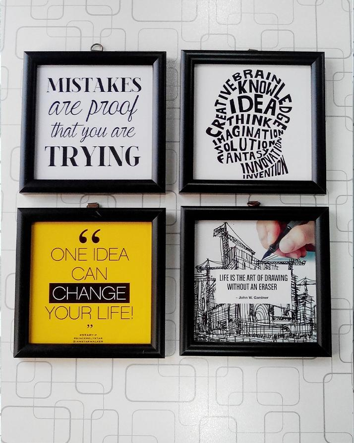 Creative Inspirational Quotes Frames Set Black Square 5x5 Inches Picture Perfect For Office And Home