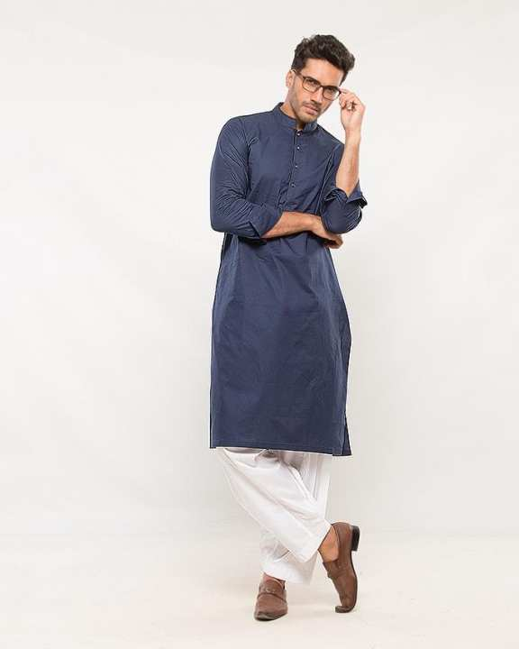 Blue Cotton Kurta for Men