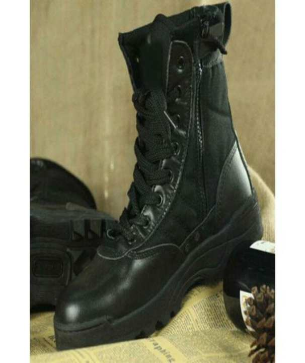 Delta Army Black Leather Top Boots For Men