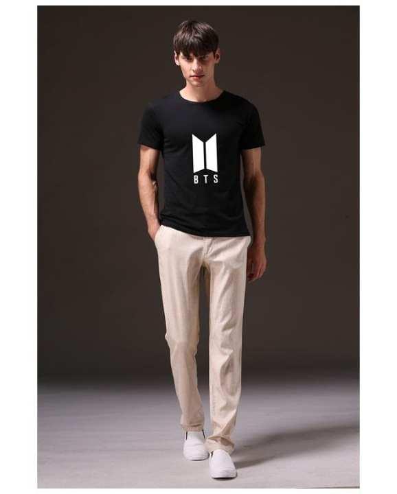 Black Bts Cotton Printed T-Shirt For Men