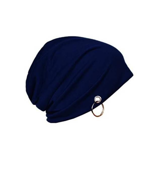 Ring beanie cap for unisex - winter season - Blue