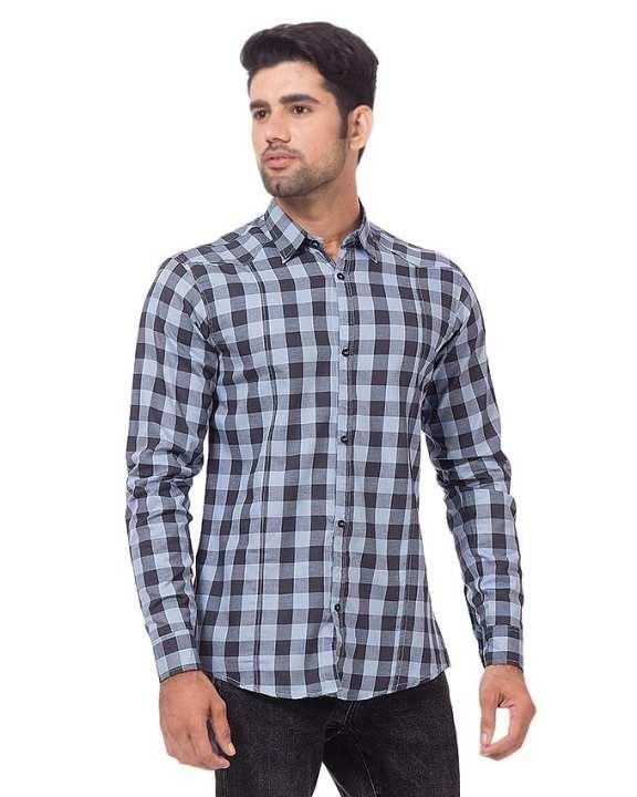 Grey & Blue Cotton Checkered Shirt For Men - BU-188