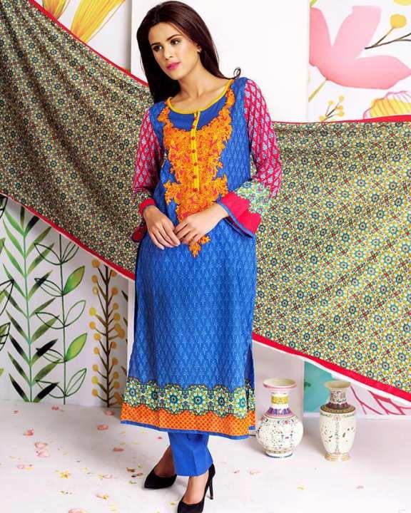 Dark Blue Lawn Sana & Samia Unstitched Suit for Women - 3 Pcs